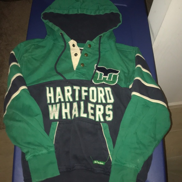 Vintage Hockey Hartford Whalers Womens Long Sleeve Hooded Lightweight Sweatshirt